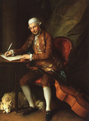 Carl Friedrich Abel with his dog and his viola da gamba painted by Gainsborough.