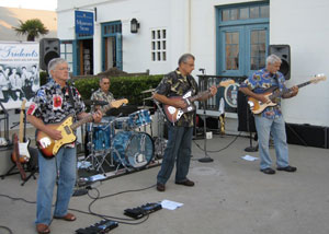 Sound check before The Tridents' 2009 Fiesta performance at the Santa Barbara Harbor. From left, Joe Weis, Gordon MacDermott, George Mamalakis and Mike Hack.