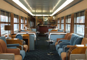 The Overland Trail's gracious and inviting interior is a great place to enjoy Saturday's rail ride.