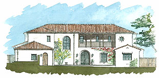 A modern Spanish Colonial Revival house utilizes traditional Spanish materials and forms that are naturally suited to the climate.