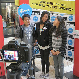 Students audition for a Get Schooled television commercial at a recent bus stop in Seattle.