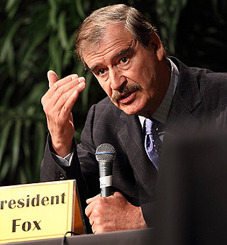 Former Mexican President Vicente Fox also participated in spirited panel discussion with students at Westmont College.