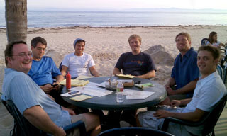It's not all work and no play at RingRevenue. Taking a break at Shoreline Beach Café are, from left, Bob Smith, Scott Herriman, Vu Ngo, Nick Burwell, Colin Kelley and John Herman.