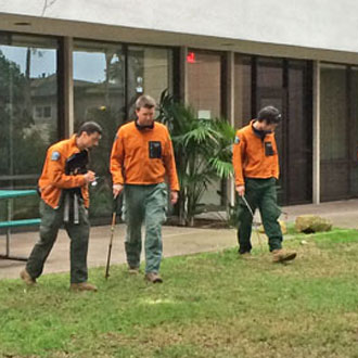 The Santa Barbara County sheriff's Search & Rescue Team joined the search for evidence and clues in a vicious beating and gang rape of a UC Santa Barbara student on Feb. 23. (Victoria Sanchez / KEYT News photo)
