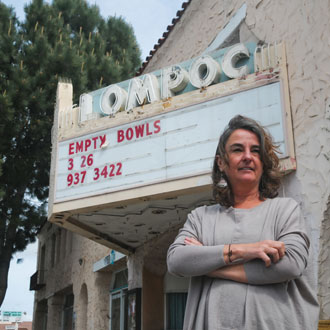 "Cecilia Martner has been the catalyst behind the Lompoc Theatre Project, which aims to restore the glory at the historic downtown building. ""We don't have an agenda, we're looking for what the community wants and then we'll make it happen,"" she says. (Lara Cooper / Noozhawk photo)"