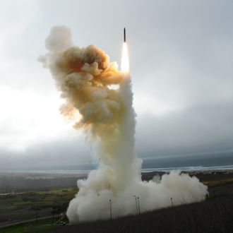 A Ground-Based Interceptor launches from Vandenberg Air Force Base in 2013 as part of the Ground-based Midcourse Defense system. (Janene Scully / Noozhawk file photo)