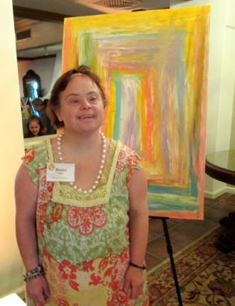 Pathpoint artist Denise Fracks' wonderful artwork was among the items sold at the silent auction. (Rochelle Rose / Noozhawk photo)