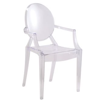 A modern Louis Ghost Arm Chair is made of transparent acrylic and manufactured by Hampton Modern. (Hampton Modern photo)