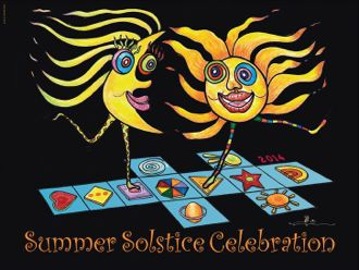 Artist Pali-X-Mano's official 2014 Summer Solstice Celebration poster features a sun and moon playing hopscotch.