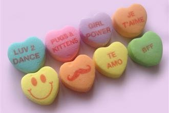 Our pet sentiments have even made it onto our candy, as Marymount of Santa Barbara sixth-grader Grace Forgea proposed with her 'Pugs and Kittens' saying selected to appear on the popular Sweethearts candy — full pun intended. (New England Confectionery Co. photo)