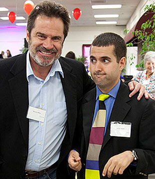 Dennis Miller, left, and a fan from Alpha Resource Center of Santa Barbara.