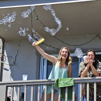 This year'​s Deltopia revelers may have been few in number, but their enthusiasm bubbled over. (Zack Warburg / Noozhawk photo)