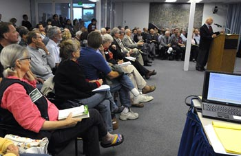 A standing-room-only crowd packed the Goleta City Council chambers last September to hear — and largely oppose —developer Michael Keston talk about his proposal for Bishop Ranch. The council unanimously voted against allowing the project to proceed. (Lara Cooper / Noozhawk file photo)