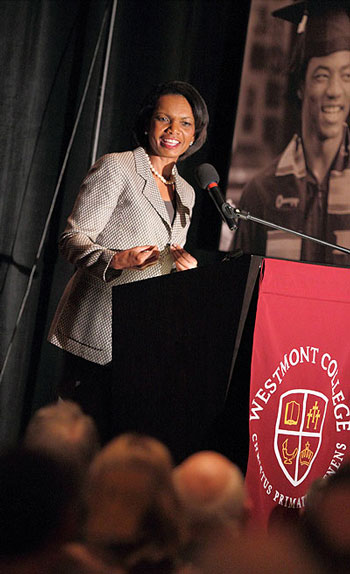 Former Secretary of State Condoleezza Rice has been no stranger to Westmont College. She headlined Friday's Westmont President's Breakfast and has also been a commencement speaker, at the school's 1999 graduation ceremonies.