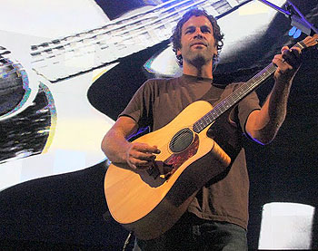 With a multimedia montage of images projected behind him, Jack Johnson treated his Santa Barbara neighbors to a two-hour show at the Santa Barbara Bowl.