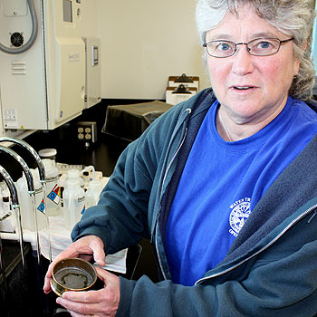 Susan Thomson, Santa Barbara's water treatment superintendent, explains the city's testing process for biological contaminants. The city self-tests its water to ensure federal and state compliance in its state-certified lab.