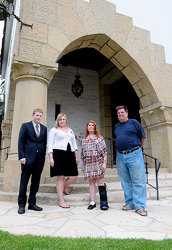 Advocates for mental health services like, from left, Roger Thompson, Emily Allen, Leah Juniper and Paul Cummings, are leading the charge for local implementation of Laura's Law — even as they acknowledge they need to become more familiar with some of the details of the assisted outpatient treatment tool.