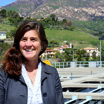 Rebecca Bjork, Santa Barbara's water resources manager, at the city's Cater Water Treatment Plant on San Roque Road. The plant, although not intended to be a firefighting resource, played a critical role in last year's Jesusita Fire. As the wildfire raged in the foothills around it, Bjork says,