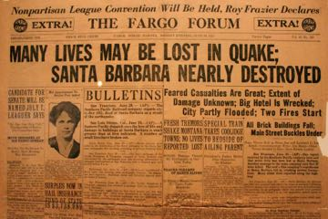 A newspaper headline from Fargo, N.D., captures the impact of the 1925 Santa Barbara earthquake. Newspaper clippings and other vintage material are on display at the Santa Barbara Historical Museum as part of an exhibit marking the 90th anniversary of the quake. (Joshua Molina / Noozhawk photo)