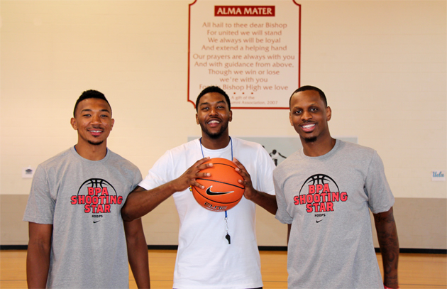 NBA players Orlando Johnson, left, Julyan Stone and James Nunnally are co-founders of the Shooting Star Youth Basketball Camp.