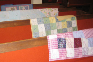 Handmade quilts made by the Good Shepherd Lutheran Church Quilting Group.
