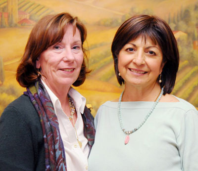 Kathy Johnson, left, and Cathy Steinke are co-founders of the Ladies of the Tea Fire group.