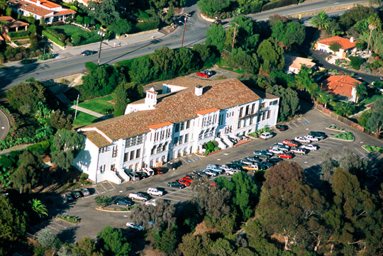 An aerial view of the downtown Santa Barbara side of campus.