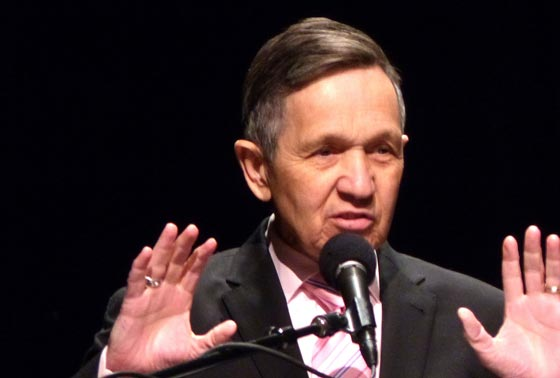 <p>Former Rep. Dennis Kucinich, D-Ohio, outlines his path forward for the United States during his Frank K. Kelly Lecture on Humanity&#8217;s Future for the Nuclear Age Peace Foundation. <a href=