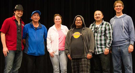 The 2013 Central Coast Poker Championship's shared winners are, from left, Jeremy Tilton of Monterey, Dante Tabing of Oxnard, Terri Chase of Santa Maria, Joel Dalida of Camarillo, Felix Pacquing of Redwood City and Rob Raede of Santa Barbara. Isaias Reyes of Carpinteria is not pictured. (Gary McDuffie photo / Chumash Casino Resort)