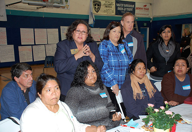 Santa Barbara City Councilwoman Cathy Murillo and other Westside residents listen intently as THRIVE Westside committees make their presentations at Saturday's action summit.