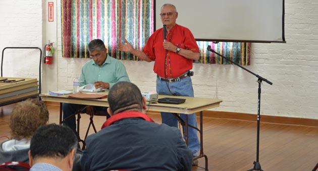 District elections advocates Leo Martinez, right, and Larry Herrera were among those holding a community meeting Saturday to discuss the Santa Barbara City Council's lack of diversity and a pending lawsuit against the city. (Giana Magnoli / Noozhawk photo)