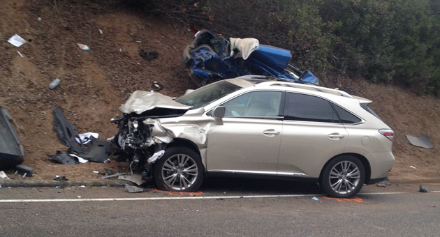 <p>The driver of the Lexus SUV in the foreground escaped with minor injuries in a Feb. 26 head-on crash that killed the driver of the Hyundai in the background.</p>