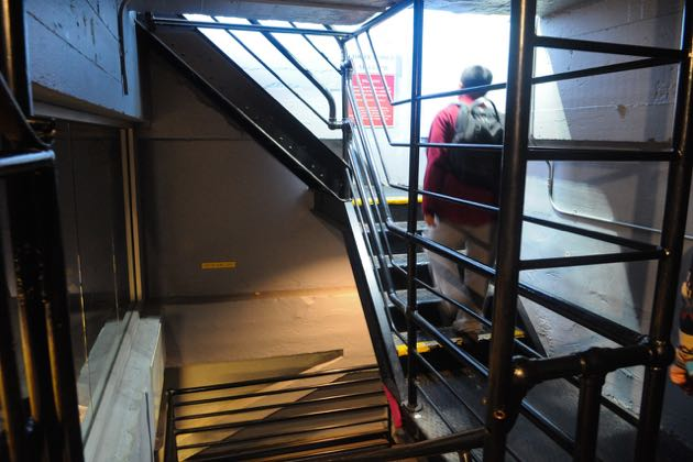 To reach the Santa Barbara County Courthouse observation deck, visitors take an elevator to the floor below but still must navigate these stairs to reach the top. Starting March 15, the deck will be closed for three months to make the area fully compliant with the Americans with Disabilities Act. (Lara Cooper / Noozhawk photo)