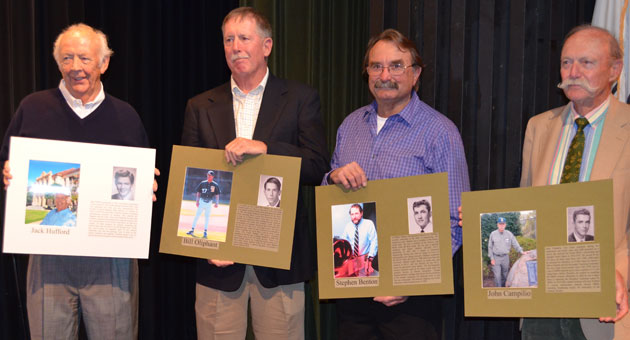 Santa Barbara High School's alumni association on Friday honored five distinguished Dons with a place on the organization's Wall of Fame. From left are Jack Hufford (Class of 1951); Bill Oliphant ('64); Chris Benton, who accepted the award on behalf of his brother, the late Stephen Benton ('59); and John Campilio ('53). Also recognized was the late Ward Kimball ('32). (Giana Magnoli / Noozhawk photo)