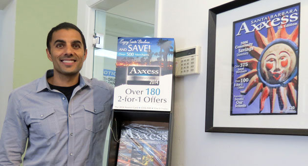 According to Karim Kaderali, founder and CEO of Santa Barbara Axxess, one in every two locals carries an Axxess card, which offers discounts to customers while providing a proven marketing platform for businesses. 'It's tipped,' he says. 'It's a product that people will buy. It supports local businesses.' (Gina Potthoff / Noozhawk photo)