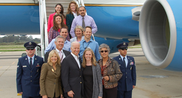 Sporting his trademark grin, Vice President Joe Biden pauses for some constituent service at the Santa Barbara Airport before getting his money's worth in Montecito. (Santa Barbara Unified School District photo)