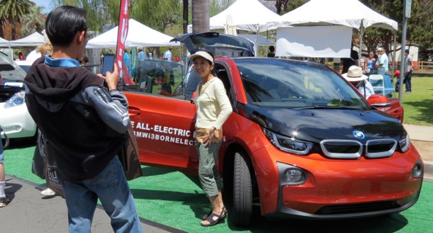A not-yet-released electric BMW i3 was a popular attraction at the Santa Barbara Earth Day celebration's green car show at Alameda Park. (Gina Potthoff / Noozhawk photo)