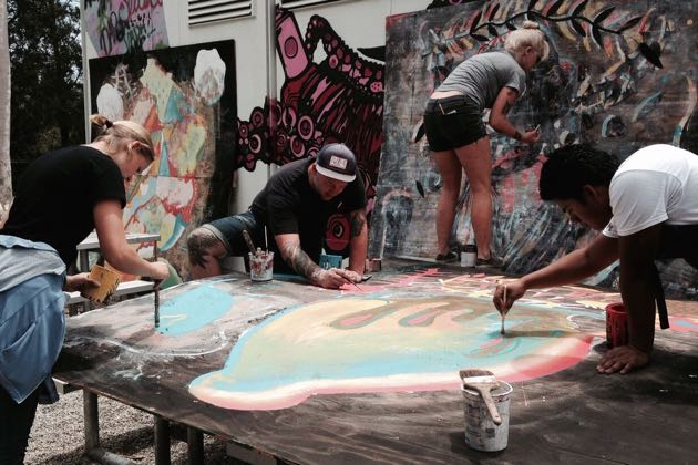Students and artists took just four days to complete the new Funk Zone mural panels. (Lara Cooper / Noozhawk photo)