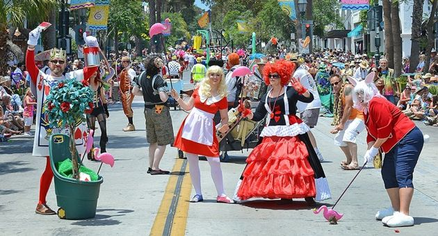 <p>Alice in Wonderland was Darla Bea, Kathleen Modugno as the Queen of Hearts, along with the Card Guard, Ted Coe, and Kristy Torgeson at The White Rabbit at Saturday's Santa Barbara Summer Solstice Parade.</p>