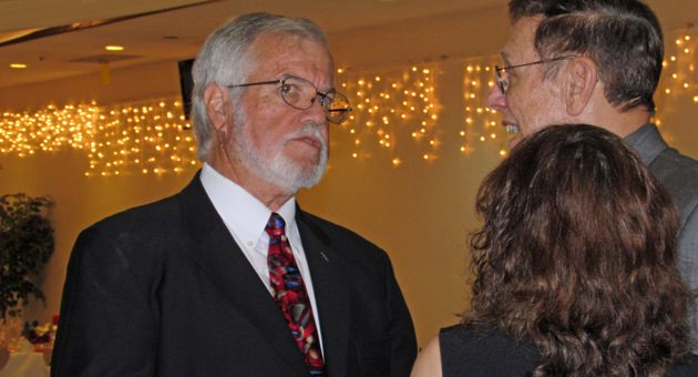 <p>Bob Hatch, president and CEO of the Santa Maria Valley Chamber of Commerce, speaks with well-wishers at his retirement dinner Saturday at the Santa Maria Elks Lodge.</p>