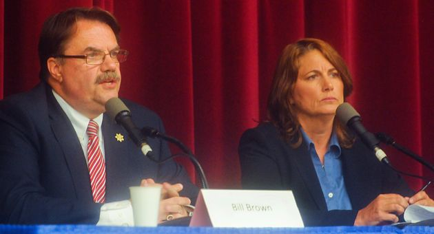 Sheriff Bill Brown and Sgt. Sandra Brown squared off in the June election, with the incumbent winning re-election with 56 percent of the vote. Because of the campaign, department decisions on sergeant transfers were postponed until after the election, and Sgt. Brown's new post will be at Santa Barbara County Superior Court. (Lara Cooper / Noozhawk file photo)