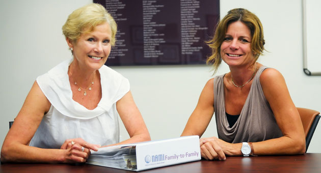 <p>Ann Lippincott, left, and Carol Hawkes of the Mental Wellness Center are two of the people behind the center&#8217;s programming for families, including the National Alliance of Mental Illness Family-to-Family Class.</p>