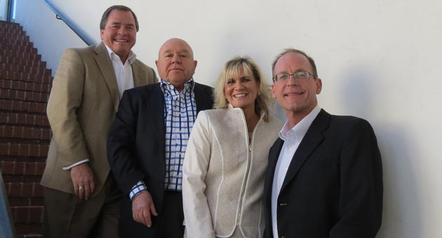 <p>The Bank of Santa Barbara is backed by a number of longtime locals, including recent hire and chief operating officer Joanne Funari. She's flanked by, from left, CEO Eloy Ortega, board vice chairman Leonard Himelsein and board chairman Dave Mokros.</p>