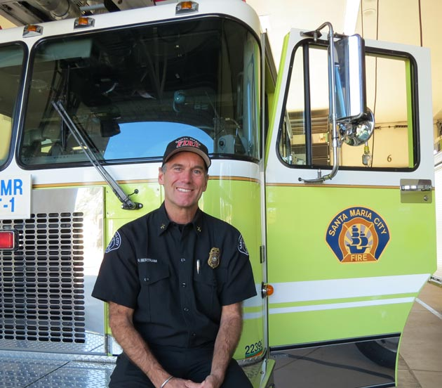 With 33 years on the job, Santa Maria Fire Battalion Chief Rick Bertram boasts the title of the department's longest-serving member. He's now in charge of training new recruits. 'I like it because I'm trying to help them,' he says. 'My hands are in everything. I've seen all the changes. We have such a great department. I would put these guys up against anybody.' (Gina Potthoff / Noozhawk photo)