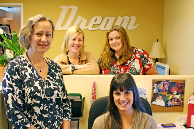 <p>Dream Foundation miracle workers include, from left, dream program manager Barbara Schoch and dream coordinators Lori Thiel, Shersy Benson and Katrina Viola, foreground. The team gets to the heart of the matter by fulfilling dreams and inspiring lives for dream recipients.</p>