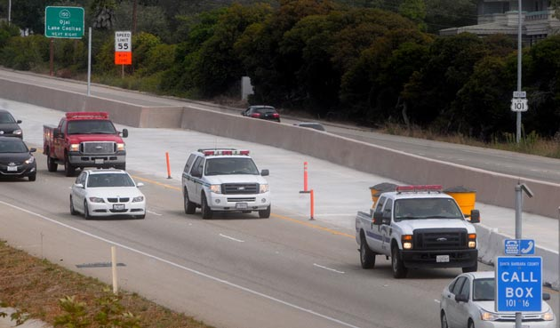 <p>Santa Barbara County, U.S. Forest Service and Los Angeles County Fire Department trucks travel on Highway 101 just after crossing the Santa Barbara County line near Carpinteria on Saturday afternoon as they escort Granite Mountain Hotshots firefighter Sean Misner&#8217;s remains and family back home to Santa Ynez.</p>