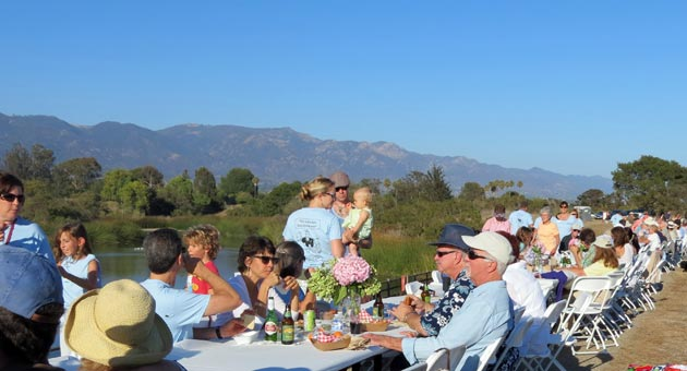 More than 250 Goleta residents gathered Saturday evening at Lake Los Carneros to toast the Good Land at the first-ever Dam Dinner.