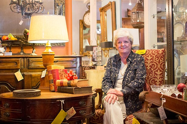 For 20 years, April Thede has contributed her time and talent to the CALM Antiques & Vintage Show and Sale benefitting Child Abuse & Listening Mediation on the South Coast. It's truly a labor of love, because, as Thede says, 'antiques aren't my thing!' (Garrett Geyer / Noozhawk photo)
