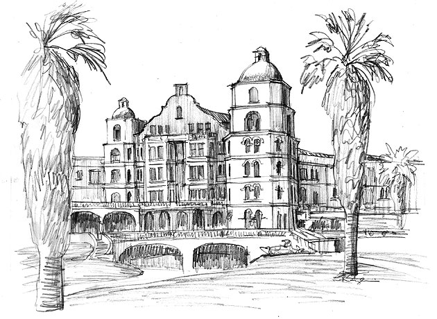 Architect Arthur Benton drew up plans for Santa Barbara's Arlington Hotel in Mission Revival style. The hotel, on the current site of the Arlington Theatre, was built in 1910 but destroyed 15 years later in the 1925 earthquake.
