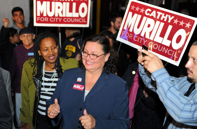 Cathy Murillo celebrates with supporters as they watch Santa Barbara City Council election returns Tuesday night at Tony Ray's Restaurant & Cantina in De la Guerra Plaza.